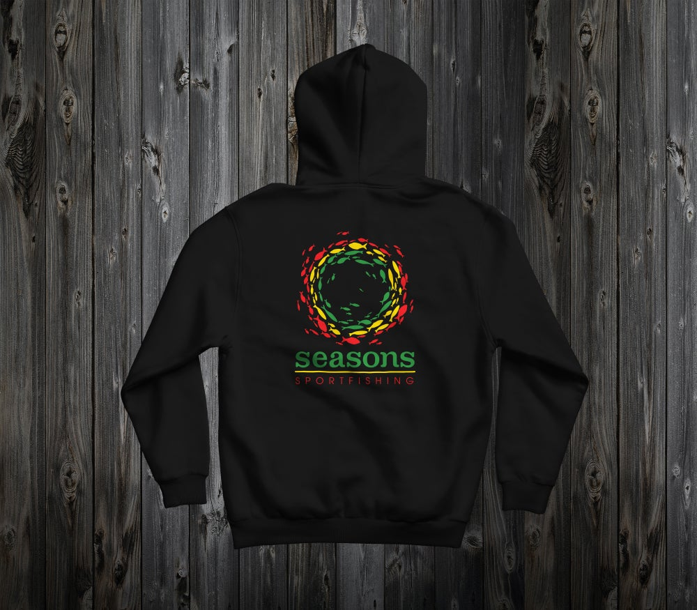 Image of SEASONS - BLACK HOODED SWEATSHIRT - RASTA SONAR SCHOOL