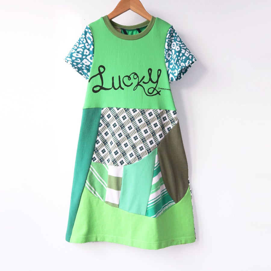 Image of st pats patchwork 7/8 cubist modern pieced lucky green greens short sleeve tunic dress
