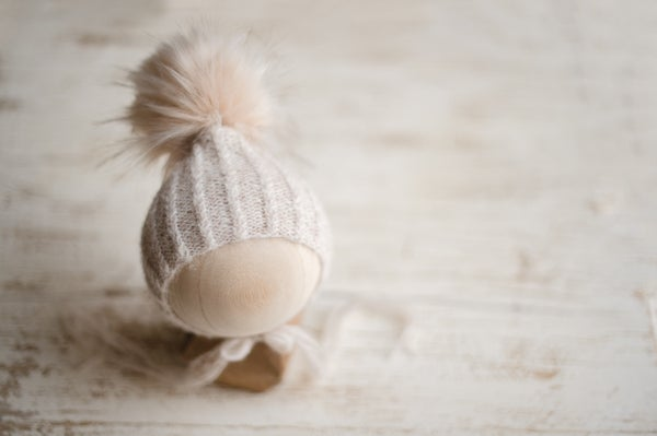 Image of Twisted Rib Pixie Pom Pom Bonnet