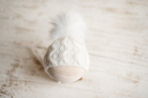 Image of Cabled Pixie Pom Pom Bonnet