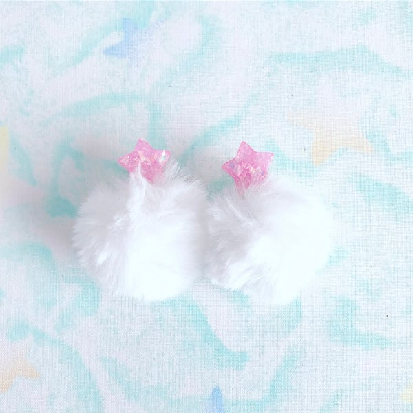 Image of Star Pompom Earrings: Pink