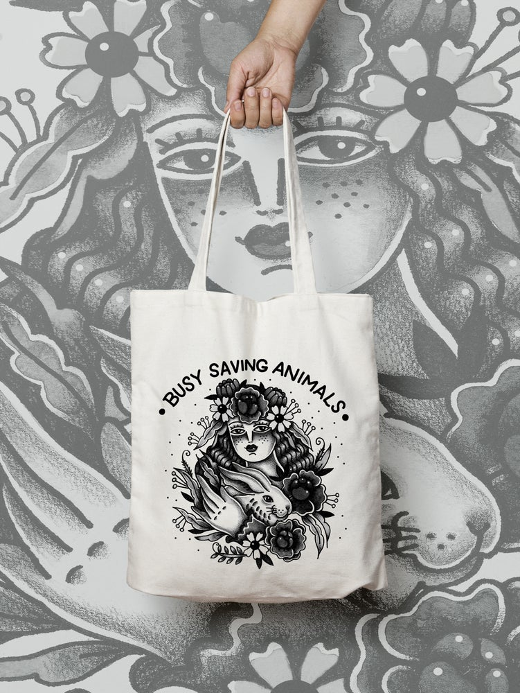 "Image of One Heart illustration ""Busy Saving Animals"" Tote Bag"