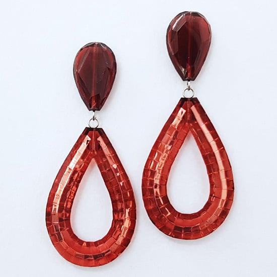 Image of Rain Drop Stud Earrings - Burgundy
