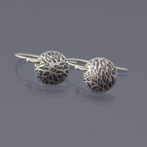 Image of Sterling Silver Textured Dome Earrings