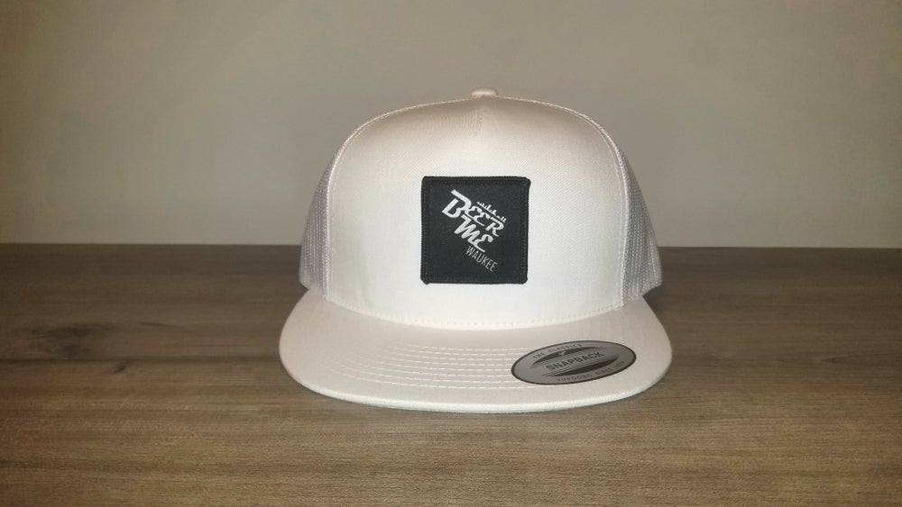Image of White Netted Snapback with Patch