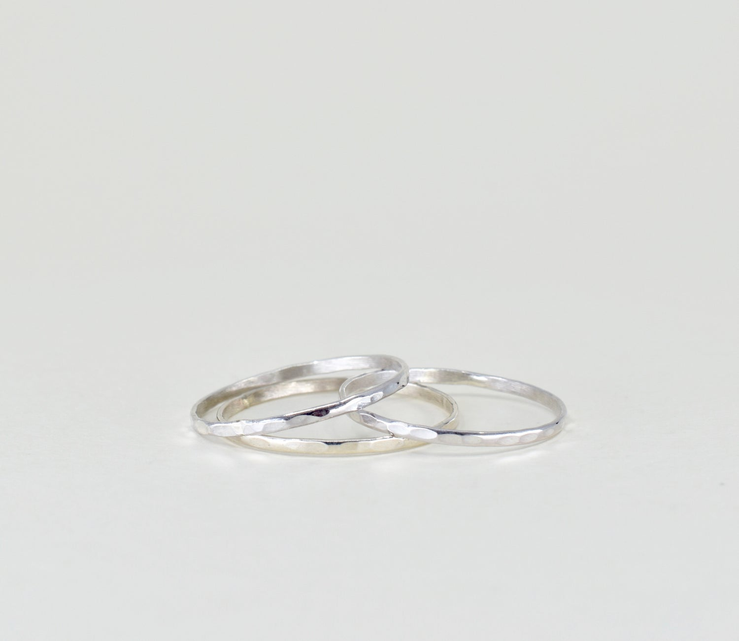 Image of Sterling Silver Hammered Stack Ring
