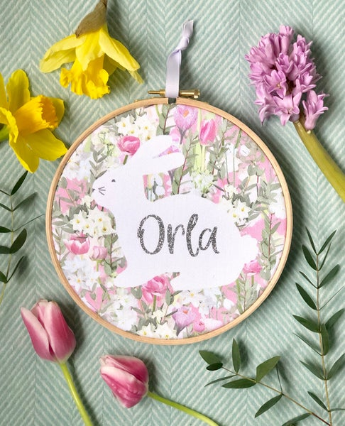Image of Spring Bunny Embroidery Hoop