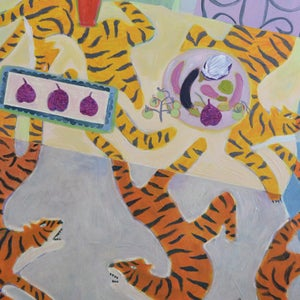 Image of Large Still Life, 'The Tiger Tablecloth,' Poppy Ellis