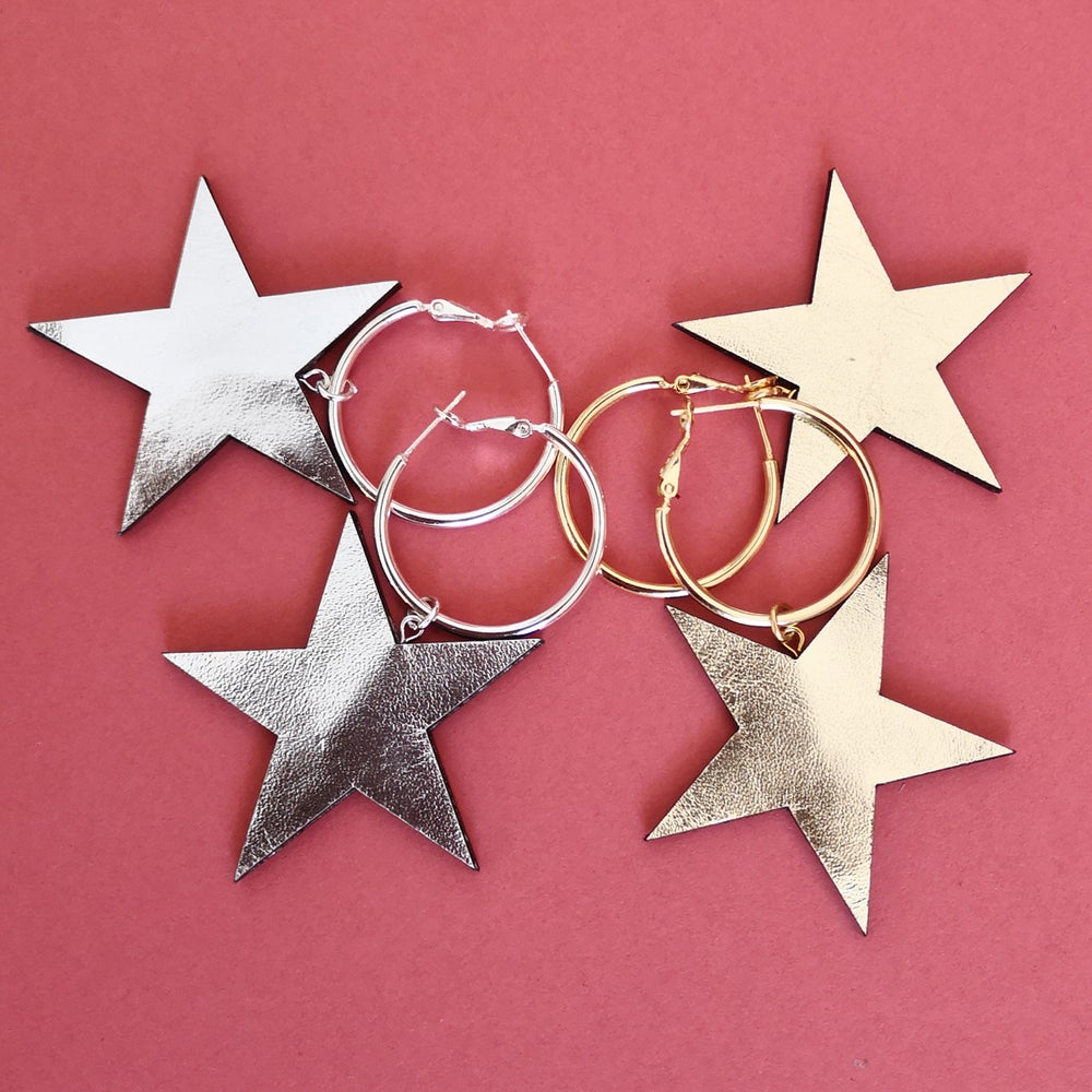 Image of STEVIE STAR HOOP EARRINGS