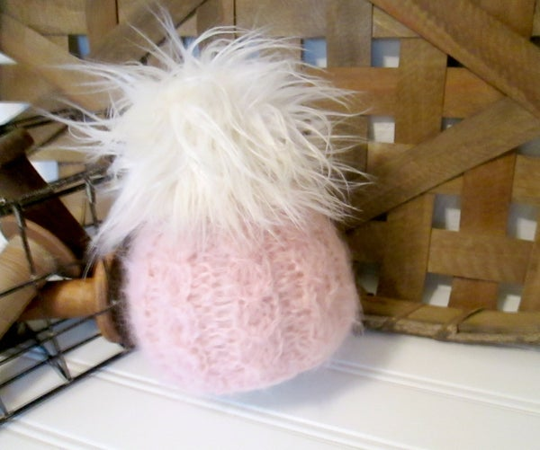 Image of Brushed Suri Fur Pom Beanie - Newborn - Made to Order