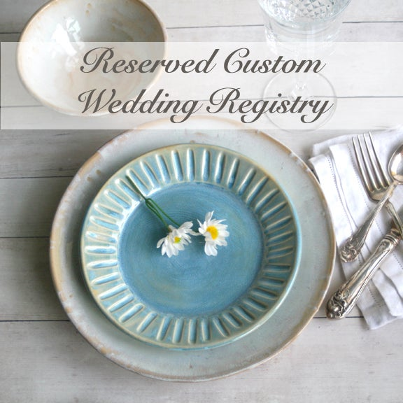 Image of Wedding Registry, Custom Dinnerware Place Setting, Handcrafted Stoneware, Made in USA