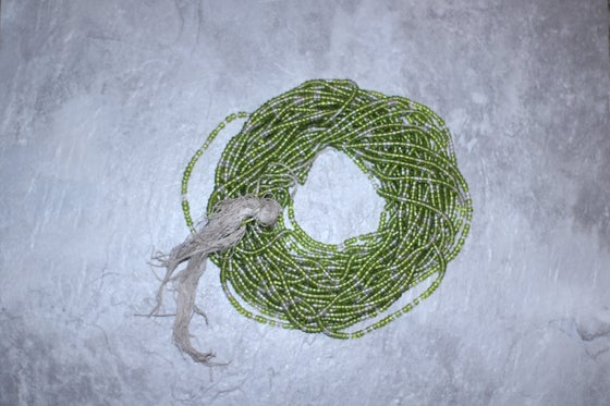 Image of Lime and Clear Tie Waistbead