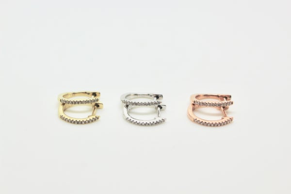 Image of DIAMOND MINI HOOPS