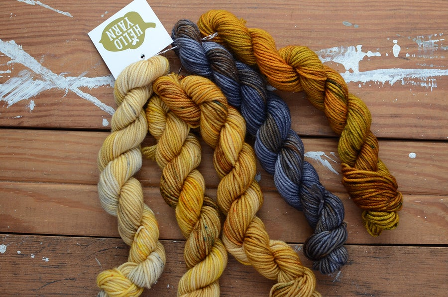 "Image of ""Oil"" Cabled Fat Sock Mini Set - 270 Yards"