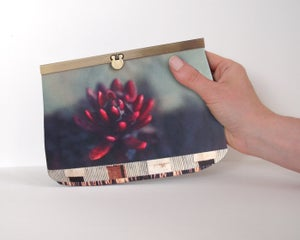 Image of Red flower slim clutch bag