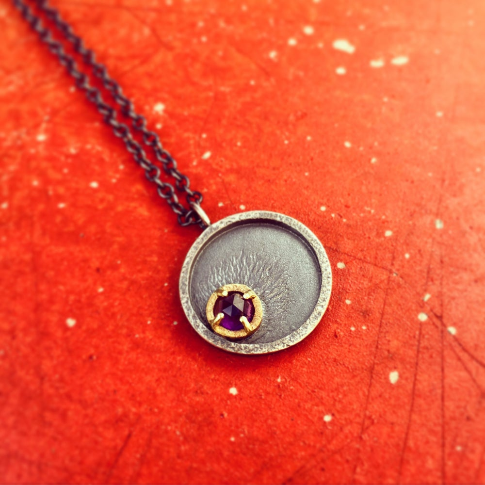 Image of shooting star — rose cut amethyst necklace