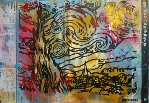 Image of STARRY NIGHT. VAN GOGH.  ART ON NYC SUBWAY MAP.
