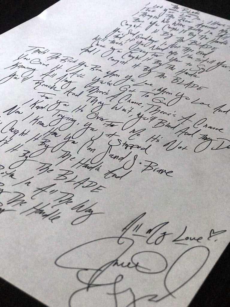 Image of Handwritten and Autographed Lyrics of your choice