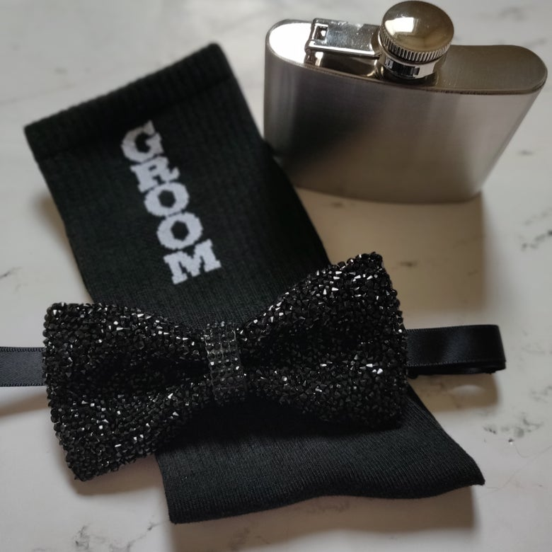 "Image of ""Andre"" Black Studded Bowtie"