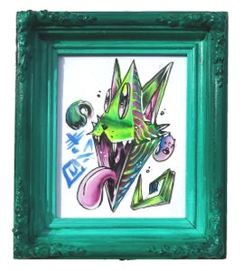"Image of Framed ""Cat Diamond"" Original Mini Painting"