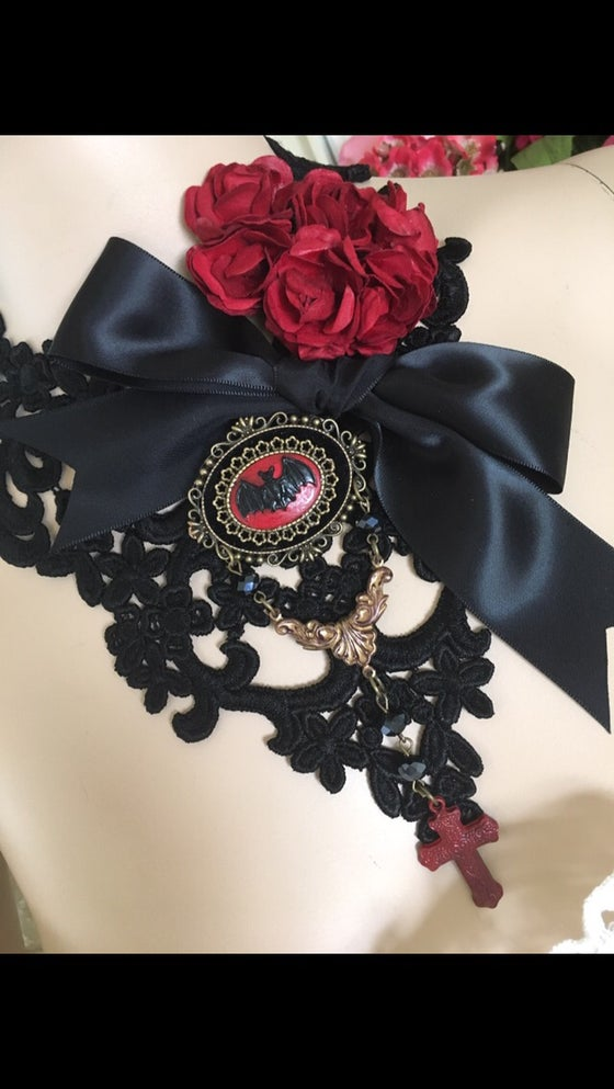 Image of Black Lace Necklace, Bat Cameo, Bow, Flowers, Cross