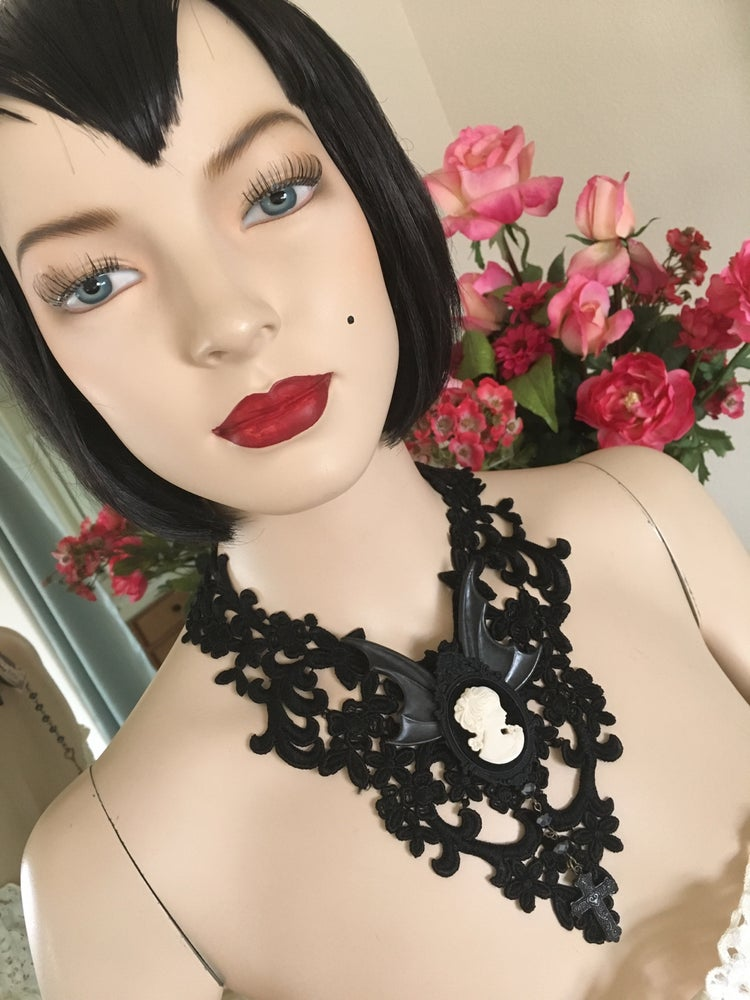 Image of Black Lace Necklace Featuring Cameo, Bat Wings, Cross