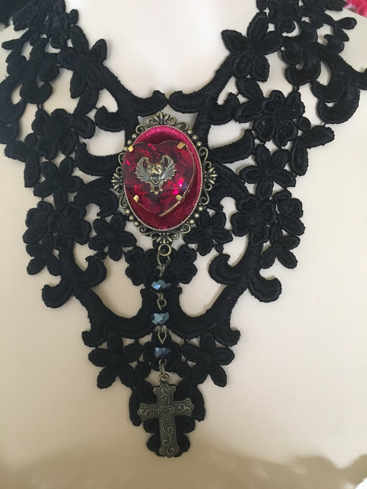 Image of Black Lace Necklace With Red Cameo And Bat Face With Cross