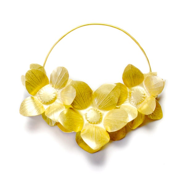 Image of Fiori Hoops- Gold Plate