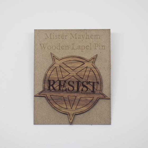 Image of Wooden Lapel Pin (Resist)