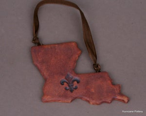 Image of Louisiana Ornaments Rustic Ceramic Clay with Fleur De Lis. Leather Look Ornaments. Rustic