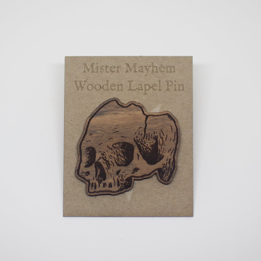 Image of Wooden Lapel Pin (Skull)