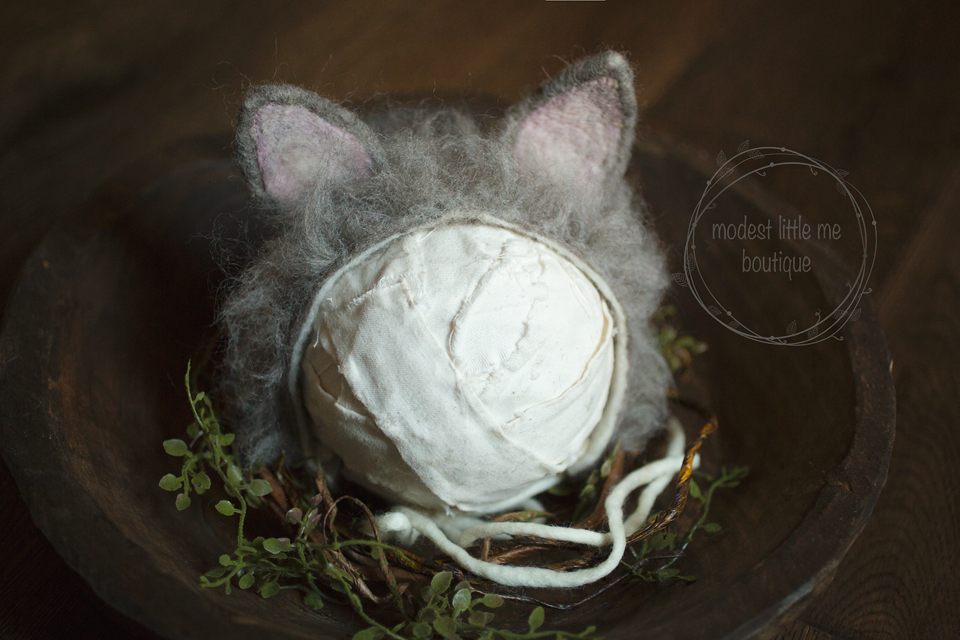 Image of Furry Felted Kitten Bonnet