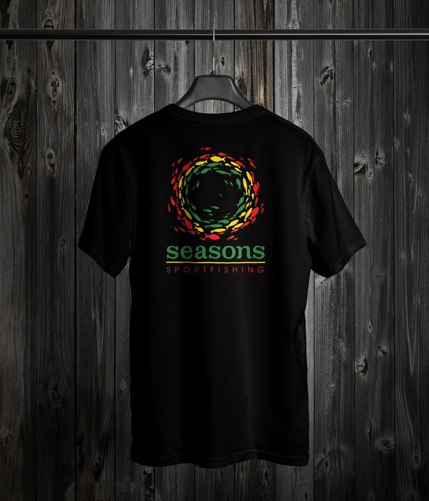 Image of SEASONS - BLACK - RASTA SONAR SCHOOL (LARGE HIT ON THE FRONT AND LOGO SMALL ON BACK)