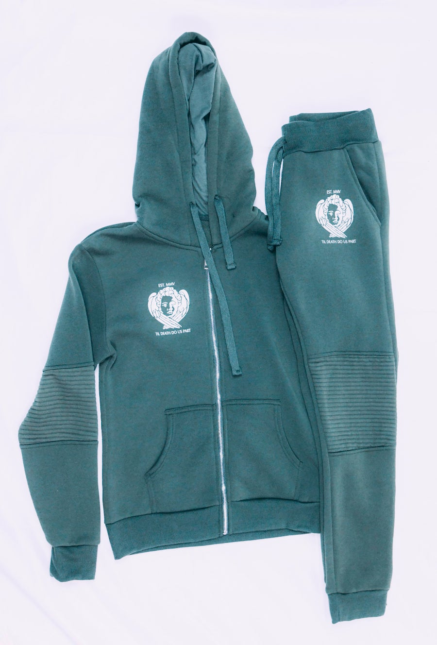 Image of Til Death Zip Up Sweat Suit (olive)