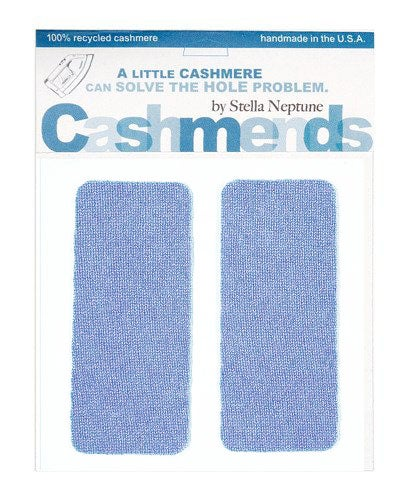Image of    Iron-On Cashmere Elbow Patches - PERIWINKLE BLUE