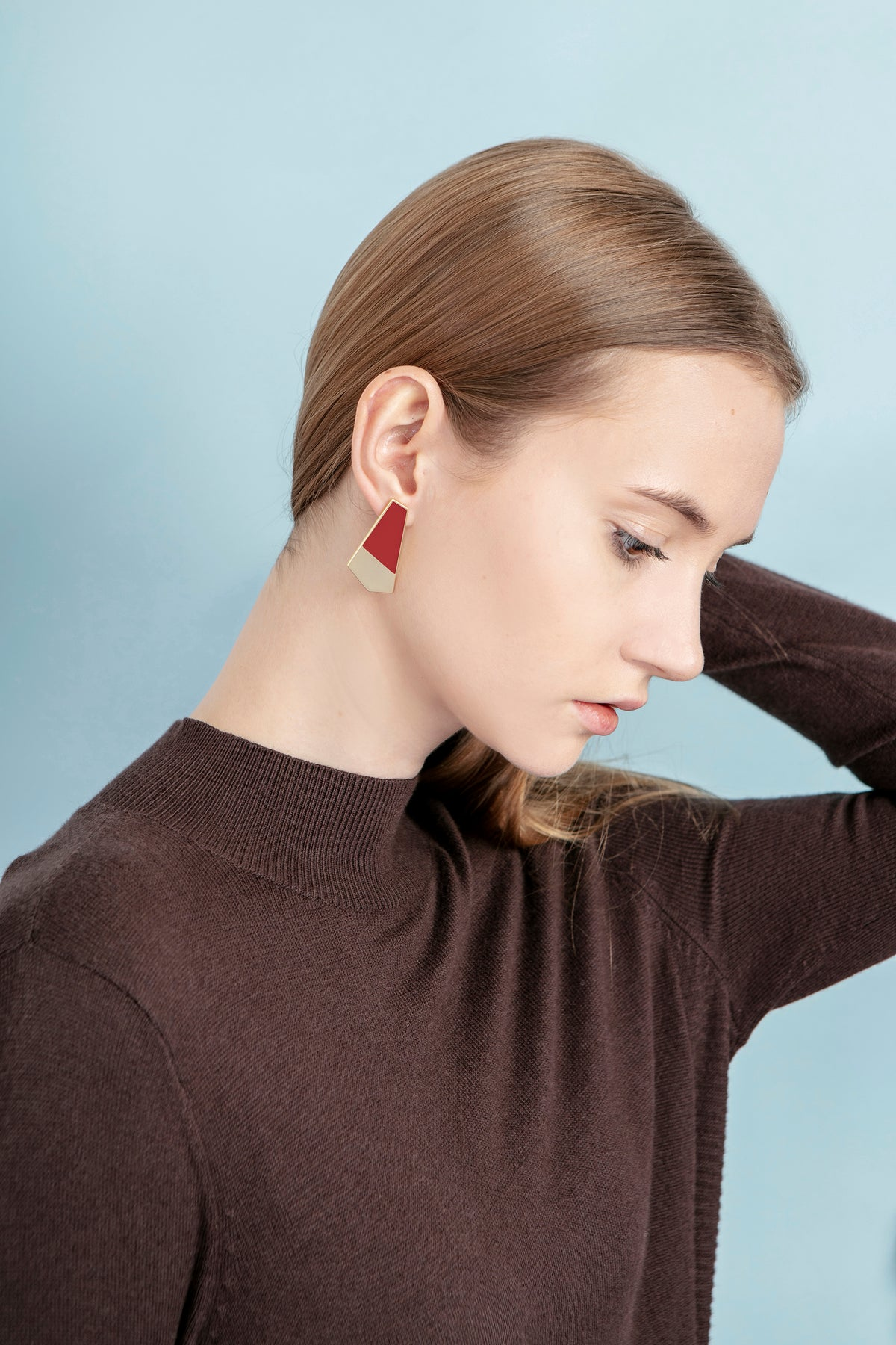 Image of Turi Earrings • Stainless steel • Silver • Red / Beige