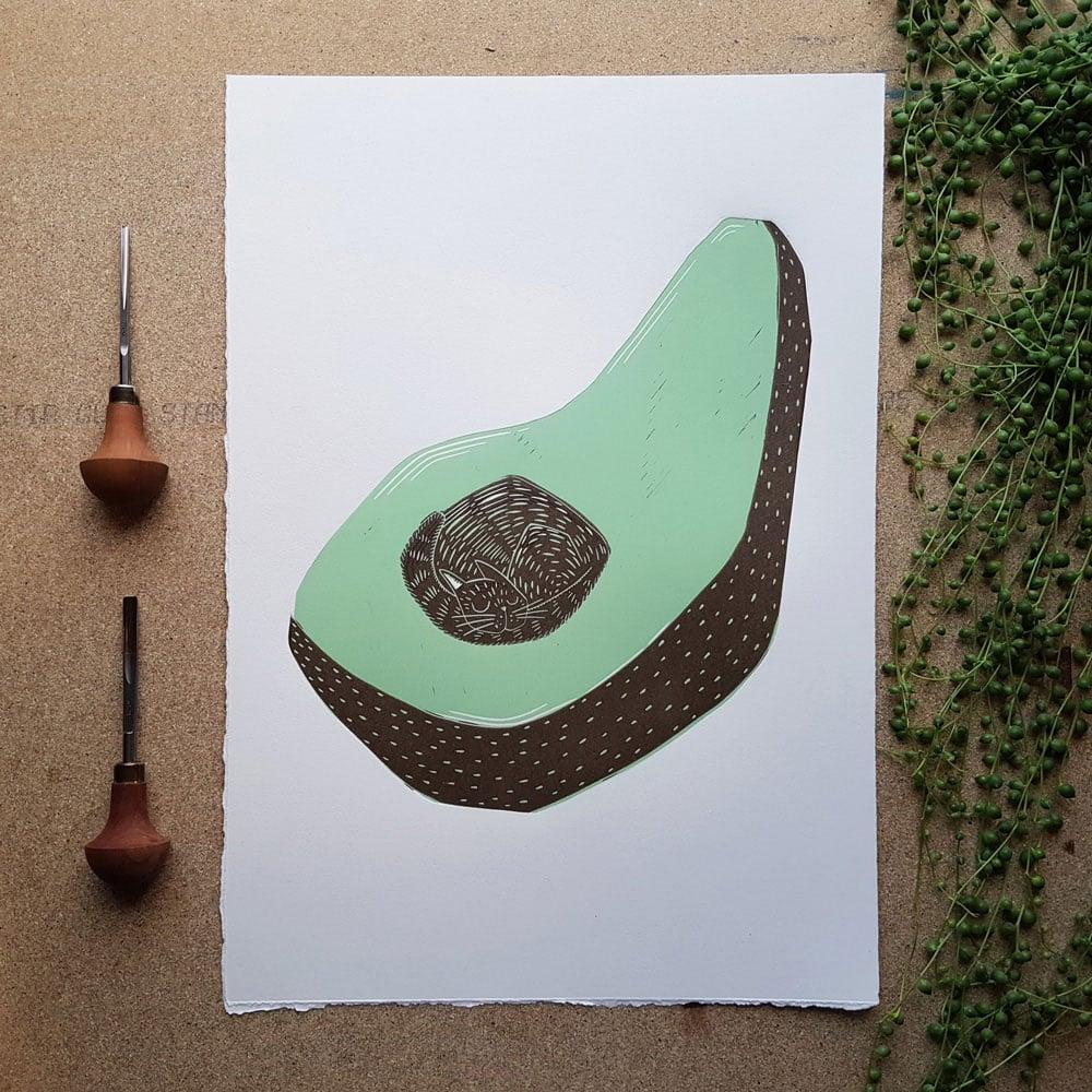 Image of Originalt linosnitt - Avokatto av Anine Hansen
