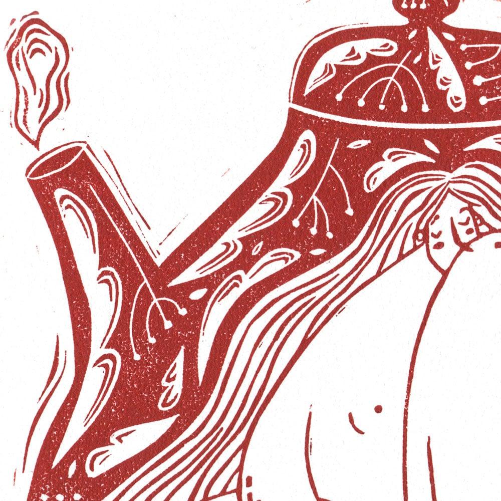 Image of Originalt linosnitt - Tekannedamen av Anine Hansen