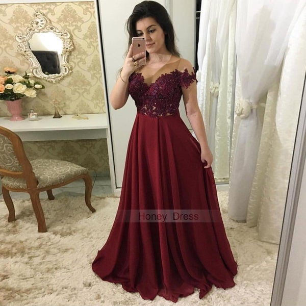 Image of Burgundy Off-the-Shoulder Sheer Lace Applique Bodice Long Prom Dress With Beading