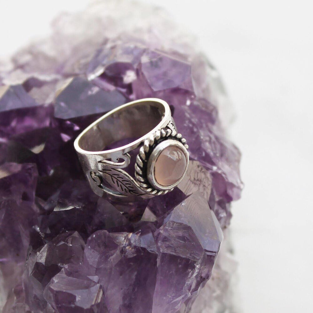 Image of Pink Chalcedony vintage style ring