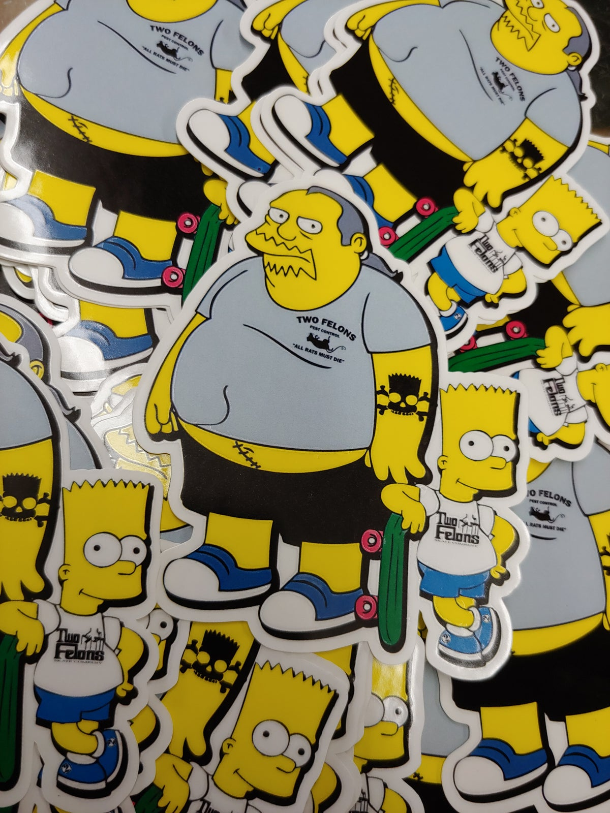 "Two Felons 2 ""Fat Boy and Burt"" stickers"
