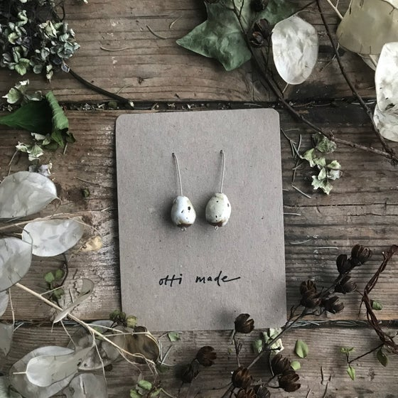 Image of Quail speckled egg drop earrings