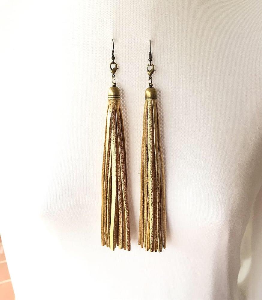 Image of Long Gold Leather Tassel Interchangeable Earrings/Pendant