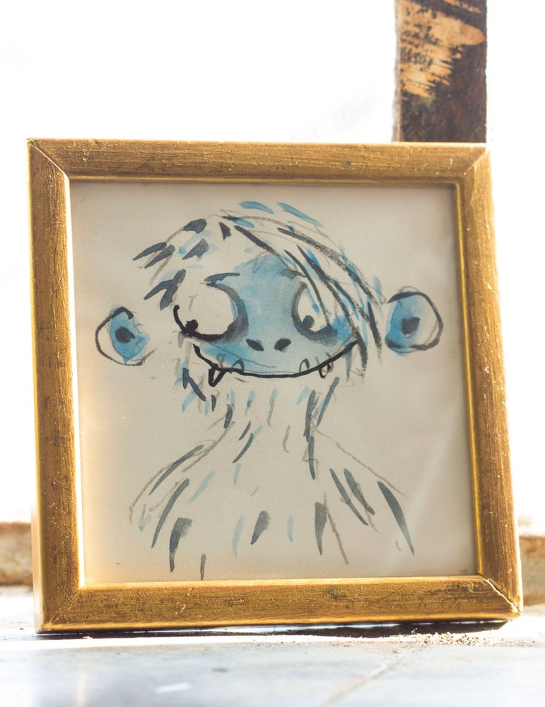 Image of yeti drawing in a vintage gold frame - Simple Song concept art
