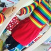 Red Corduroy Skirt With Rainbow Pockets
