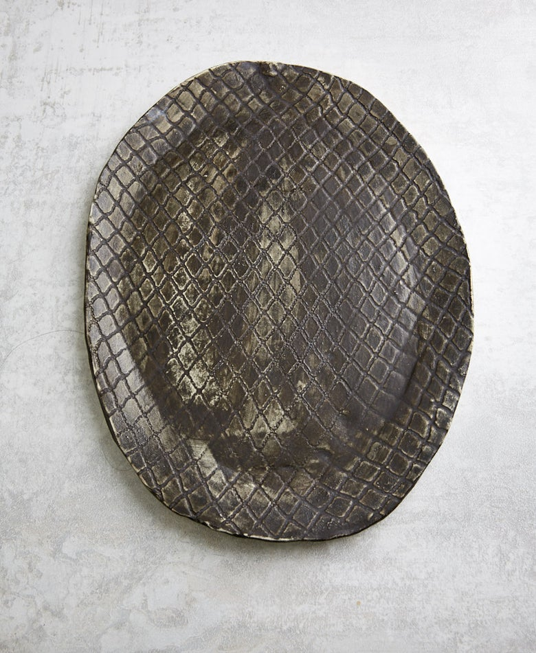 Image of Large Rustic Iron Grid Platter (back-order)