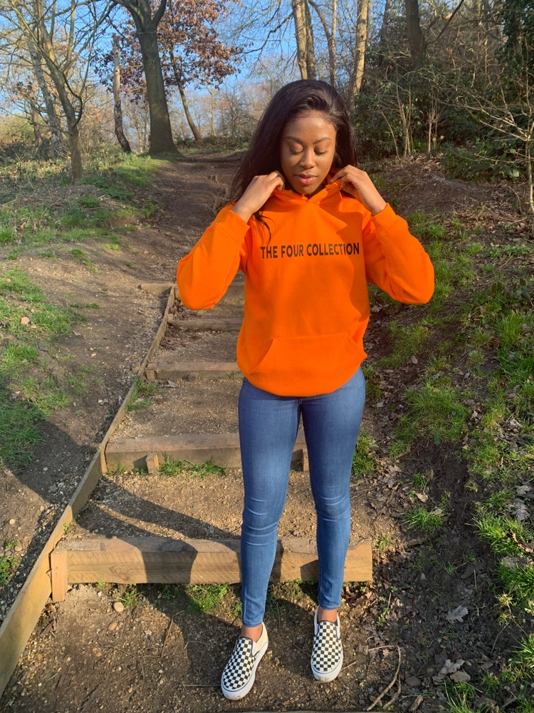 "Image of ORANGE ""Four Collection"" Branded Hoodie"