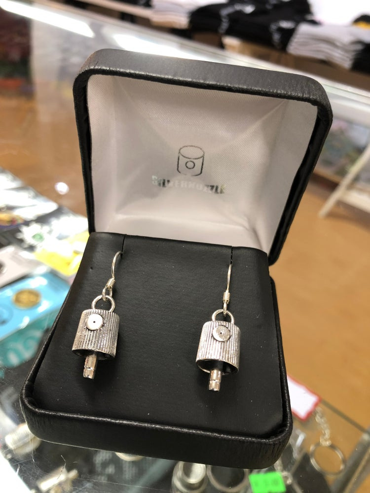 Silver Nozzle NY Fat Cap Earrings