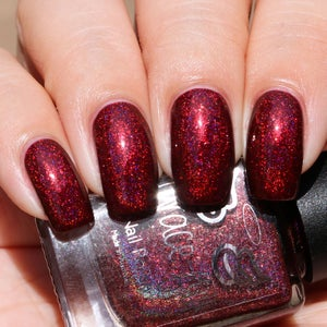 Image of Chosen One - a linear maroon holo with UCC flakes and aurora shimmer