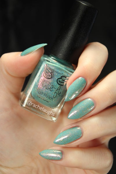 Image of Keeper of the Diary - mint green crème holo with a flash of pink & gold flakes througho